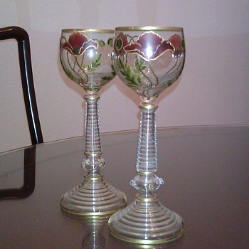 A Pair of Bohemian Decorative Wine Goblets