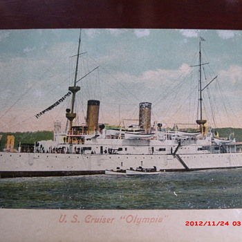 "Postcard of U.S. Cruiser ""Olympia"" - Military and Wartime"