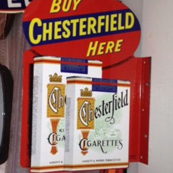 Chesterfield Cigarette Double Sided Flange Tin Sign...Liggett & Myers Tobacco Co.