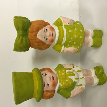 Antique paper Mache boy & girl