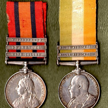 Queen's & King's South Africa Medals plus sterioview