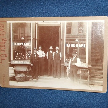 Chicago Hardware store cabinet card - Photographs