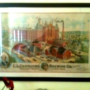 Vintage Lithograph of Centlivre Brewing Company, Ft. Wayne, Indiana - Advertising