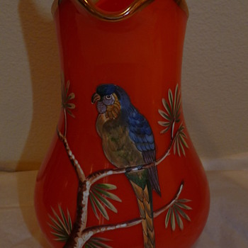 Tango Parrot pitcher - Art Glass