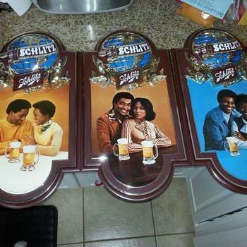 African american Schlitz sign set - Breweriana