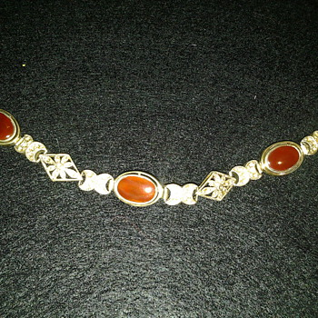 Is this Scottish agate? Carnelian? Victorian Edwardian? It is stamped 925 inside clasp saying MRF  - Fine Jewelry