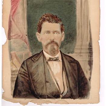 Portait of Unknown Man - old tinted photo, where photo has faded away - Photographs
