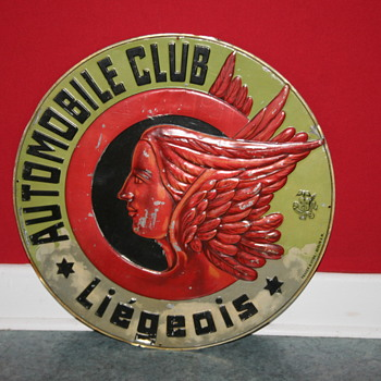 automobile club liegeois tin sign