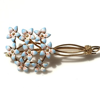 Forget-me-not 14K brooch - Fine Jewelry