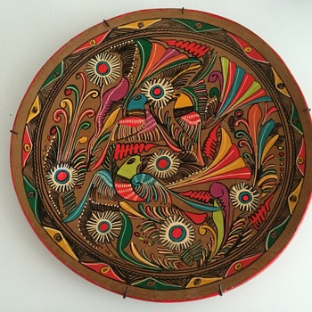 Neon-painted Terra Cotta Plate - Art Pottery