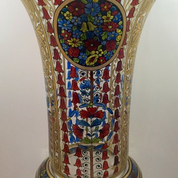 Julius Mühlhaus & Co. hand-enameled glass vase, ca. 1910-1915