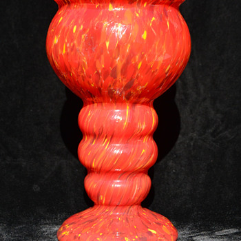 Czech red spatter vase