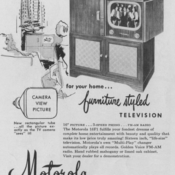 1950 - Motorola Model 16F1 Television Advertisement - Advertising