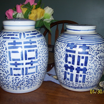 2 chinese happiness jars - Asian