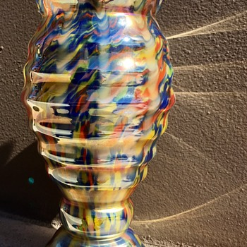 Czech glass Zipper vase (1920-30's) - Made by A-A