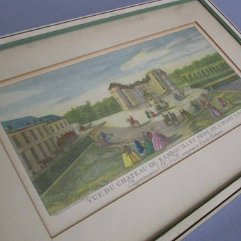 Antique FRENCH Hand Colored Engraving CHATEAU de Rambouillet * Marie Antoinette