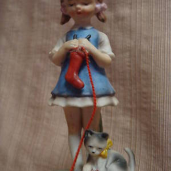 vintage music box girl and cat