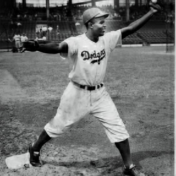 one of a kind  signed Jackie Robinson b/w  photo from rookie years 7 by 9 - Baseball