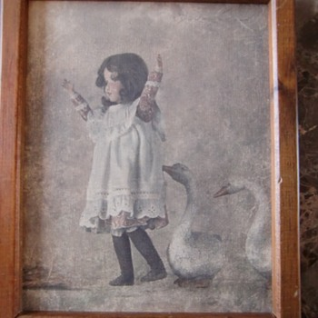 Painting of a young girls with geese - Visual Art