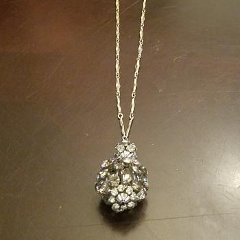 Beautiful Smokey Rhinestone Ball Necklace