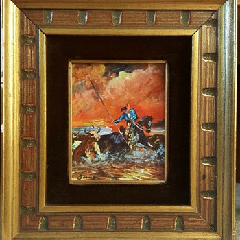 Small Original Oil Painting/still deciphering artists signature - Mid-Century Modern