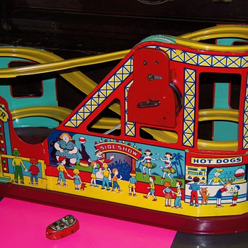Old Tin Toy Wind up Circus Roller Coaster and Car  - Toys