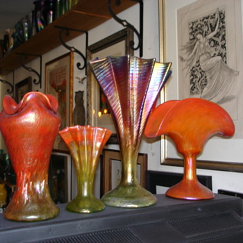 RINDSKOPF GRENADA FAN VASE. - Art Glass