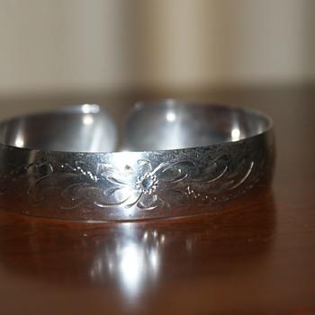 Vintage Sterling Birks Engraved Cuff Bracelet