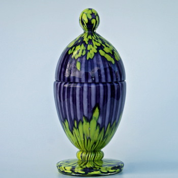 Welz Stripes & Spots Purple and Yellow egg shaped lidded jar - Art Glass