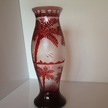 Bohemian (? ) etched glass vase