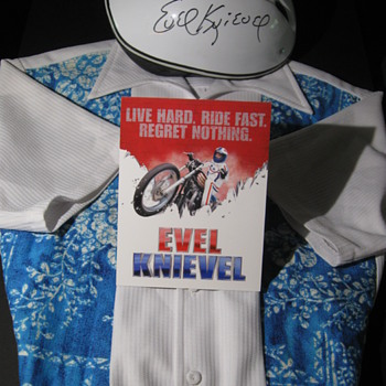 Evel Knievel . . . Personal Iolani Hawaiian Shirt & Signed Helmet