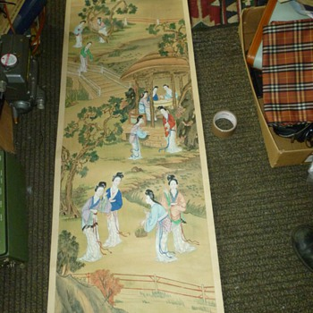 Vintage Oriental silk scrolls - Asian