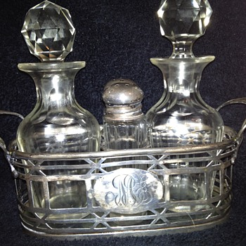 Sterling Silver & Crystal Condiment Set (Whiting) - Sterling Silver
