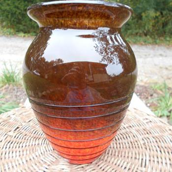 Bohemian? Murano? Asian? Cased Spatter Amberina Black Threading Vase - Art Glass