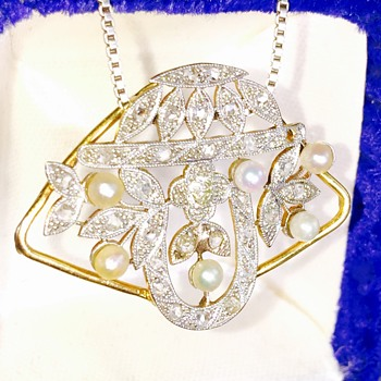 Edwardian French Mine Cut Diamond Pearl Platinum 18k Pendant  - Fine Jewelry