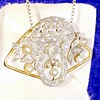 Edwardian French Mine Cut Diamond Pearl Platinum 18k Pendant