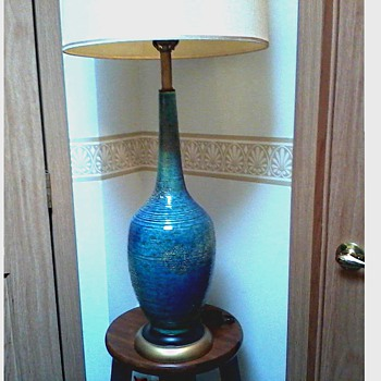Mid-Century Azure Blue Ceramic Table Lamp /Bottle Shape / Circa 1960's -70's