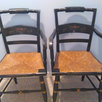 Early Sheraton Hitchcock Captain Chairs