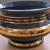 vintage deep black or deep violet grinding bowl gilded candies?, Bubble vase violet handy glass , yellow depressed vase ,