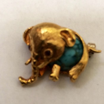 Gold and Turquoise Elephant Pin