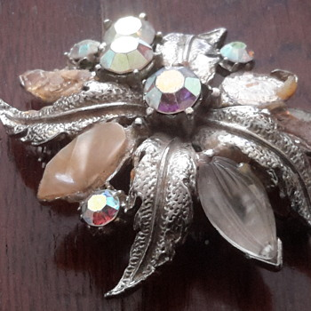 1940s /1930s Carved glass & ab rhinestone brooch