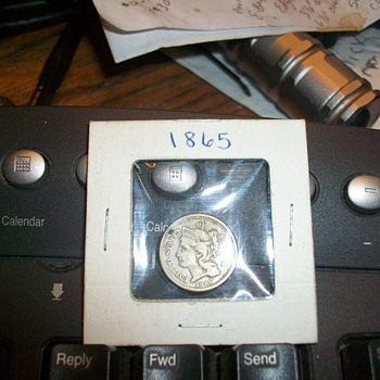 1865 liberty 3 cent silver coin - US Coins