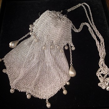 Antique MESH CHAIN MAIL Drawstring Evening Purse Bag with Ornaments