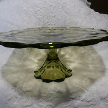 colonial green cake plate - Glassware