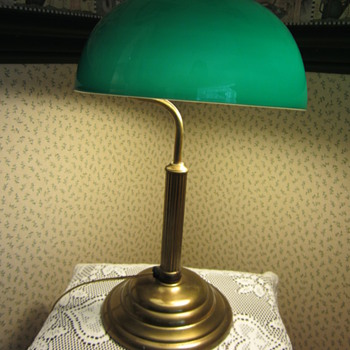 'Very old brass table lamp with green glass shade
