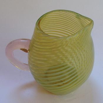 Victorian cased striped uranium glass miniature jug - Art Glass