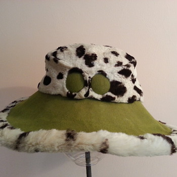 1960's Ocelot and Green Felt Hat - Hats