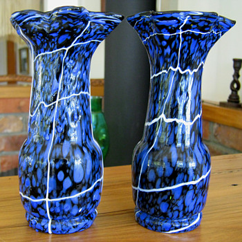 Pair Of Kralik Spatter Vases