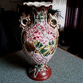 "Exquisite 12""Red Nippon Vase / Hydrangeas With Silver Moriage Netting /Illegible Mark ? Circa 19th -Early 20th Century"