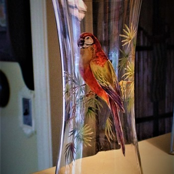 Hand-Painted Parrot Vases  - Glassware